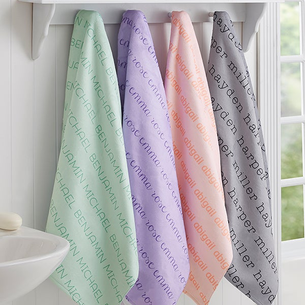 Personalized Bath Towels For Kids   Repeating Name