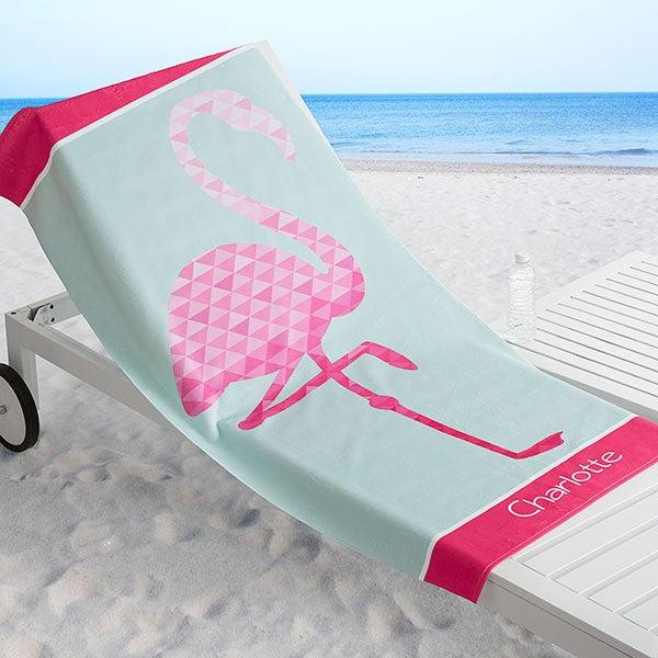 Personalized Beach Towel - Geometric Flamingo - 18569