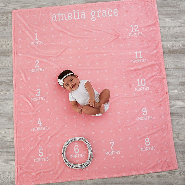 67a76dcc738 Personalized Baby Milestone Blanket - 18584