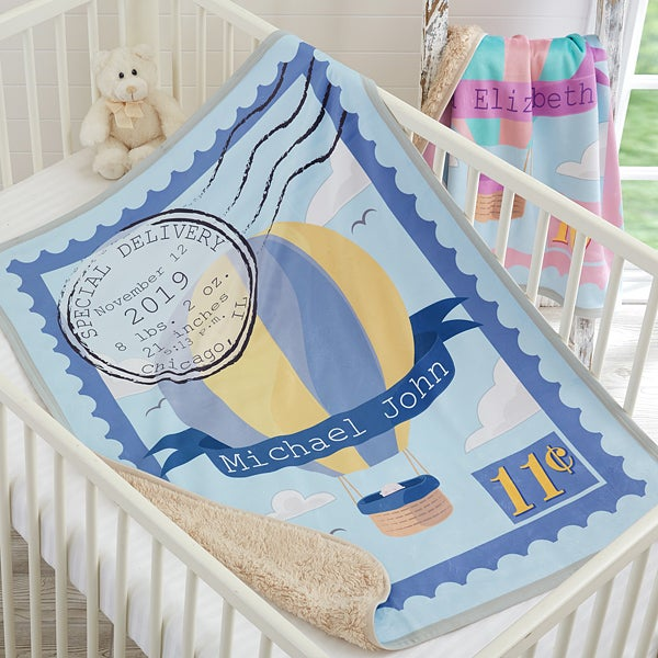 Personalized Special Delivery Baby Sherpa Blanket - 18586
