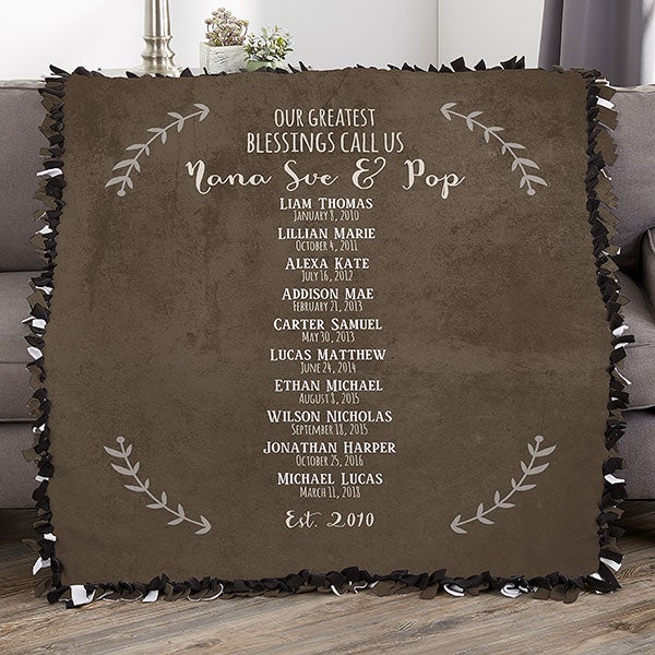 Our Grandchildren Personalized 50x60 Tie Blanket Gifts