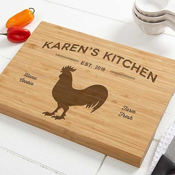 Personalized Bamboo Cutting Board - Farmhouse Kitchen - 18600