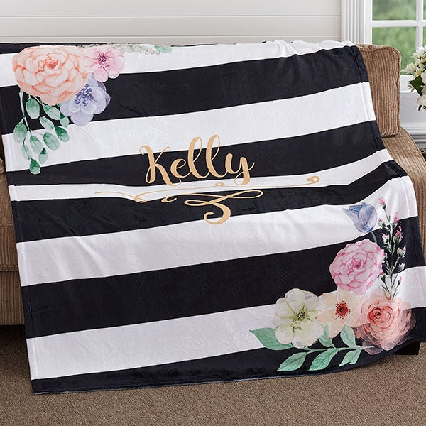 Personalized Fleece Blankets - Black & White - 18611