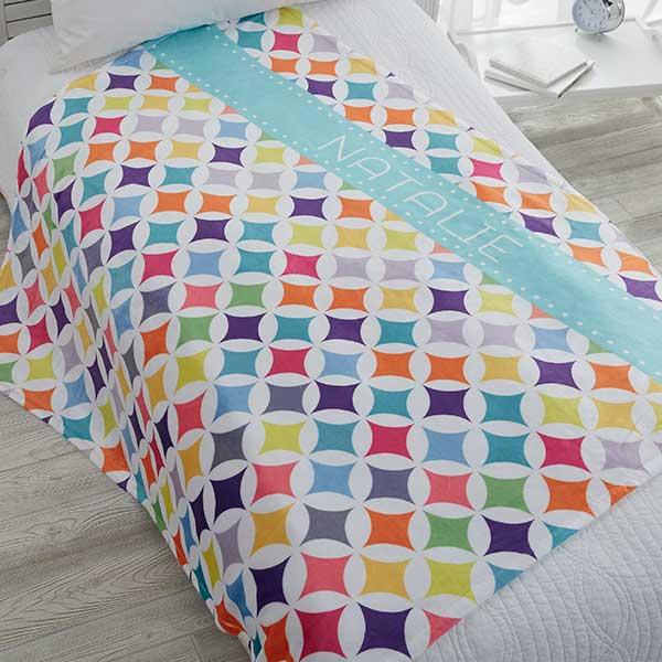 Personalized Fleece Blanket - Geometric Pattern - 18613