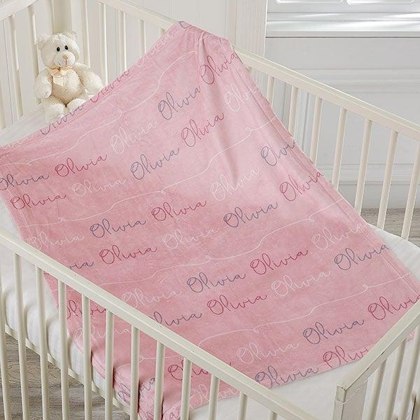 PERSONALISED FLEECE BLANKET GIRL NEWBORN BABY GIFT PINK//LILAC SHOWER PIGLET