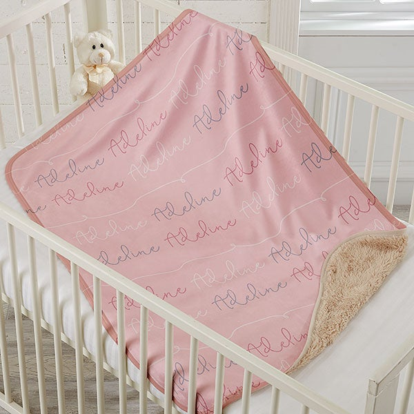 Baby Girl Name Personalized Sherpa Blanket - 18670