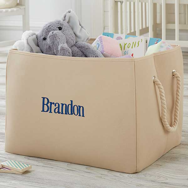 Personalized Canvas Storage Totes - Monogram & Name - 18682