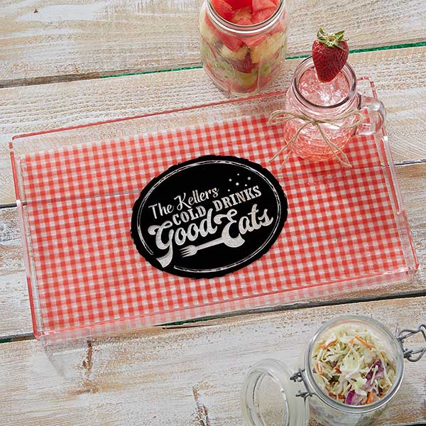 Personalized Acrylic Serving Tray - Picnic Plaid - 18691