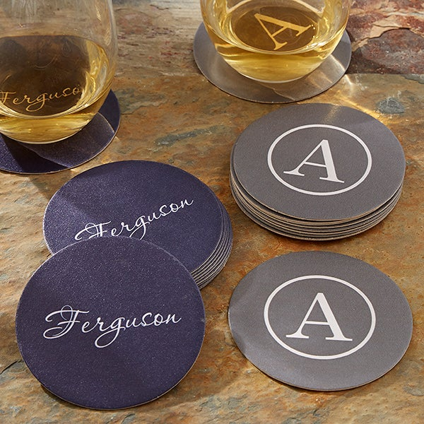 Personalised Lilac Initial Wooden Drinks Coaster Mat Birthday Gift Present
