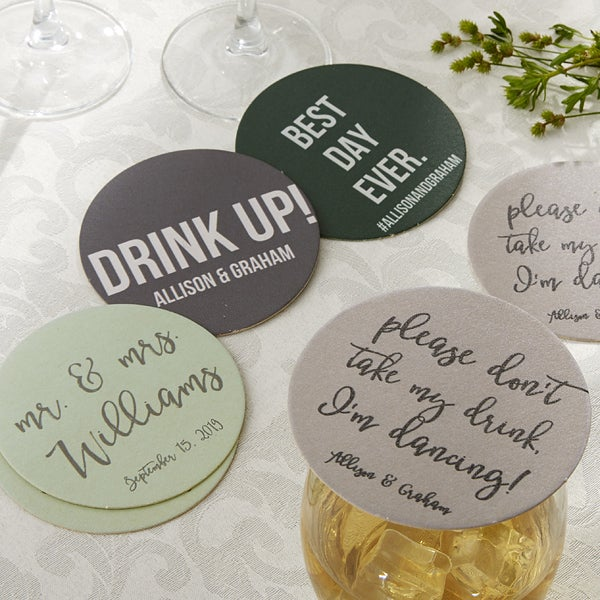 Personalized Wedding Paper Coasters - Write Your Own - 18707