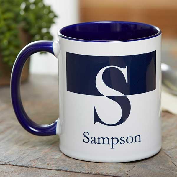 Personalized Initial Monogram Coffee Mug 11 Oz Blue