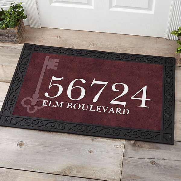 Personalized Doormats - Home Address & Vintage Key - 18745