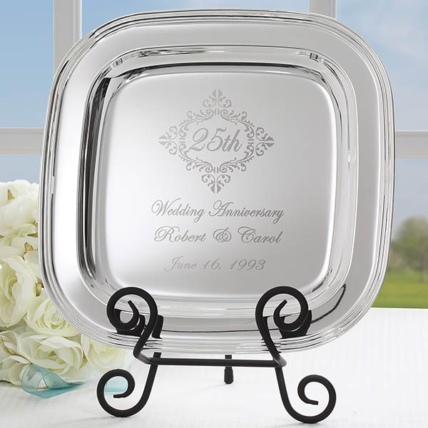 Personalized Silver Tray - Anniversary Year Keepsake - 18747