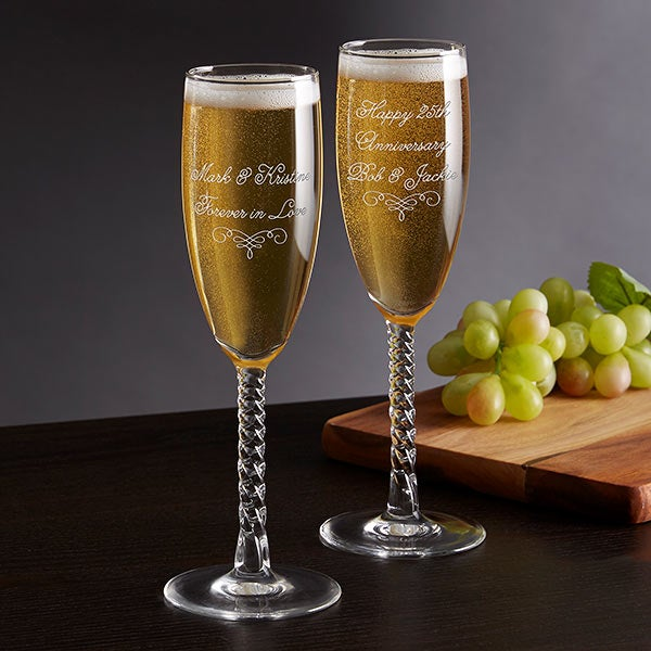 Write Your Own Personalized Twisted Champagne Flute