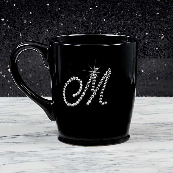 Custom Bistro Coffee Mugs - Rhinestone Monogram - 18766
