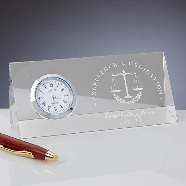 Personalized Crystal Desk Clock - Law Professional - 18786