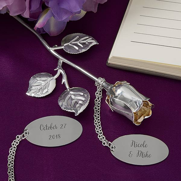 PERSONALISED ENGRAVED SILVER PLATED PINK ROSE WITH TAG /& GIFT BOX FREE ENGRAVING