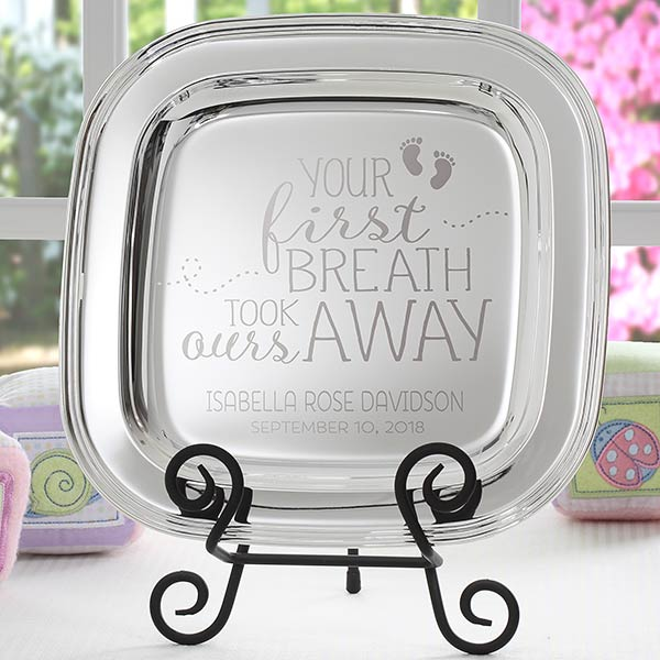 Personalized Baby Keepsake Engraved Silver Tray - 18811
