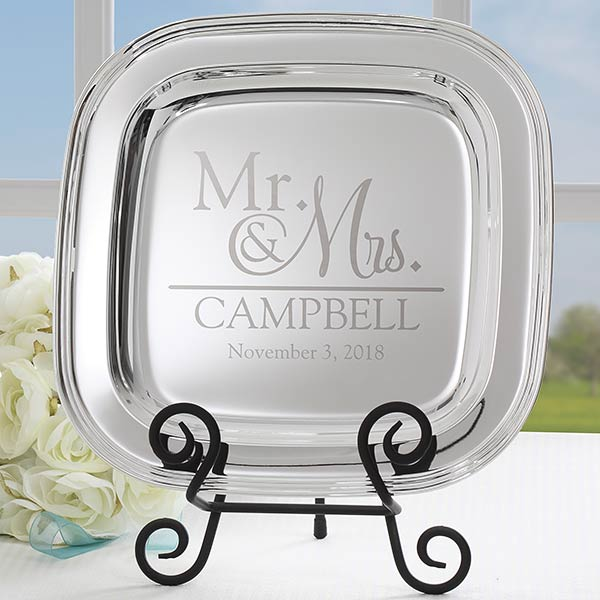 Engraved Silver Tray - Wedding Gift - 18812