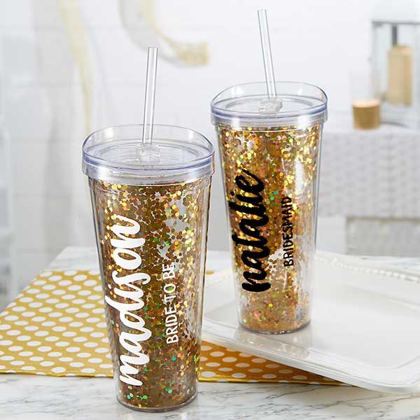 355bfc9ec62 Personalized Bridal Party Tumbler 22oz - Glitter & Gold - Wedding Gifts