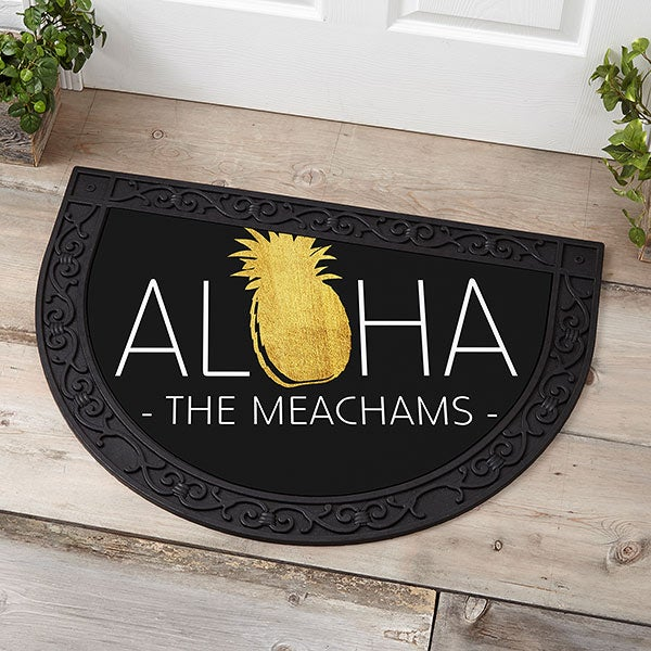 Personalized Half Round Doormat - Golden Pineapple - 18835