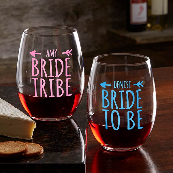 Bride Tribe Personalized Wine Gles 18879 Stemless Gl Wedding Gifts