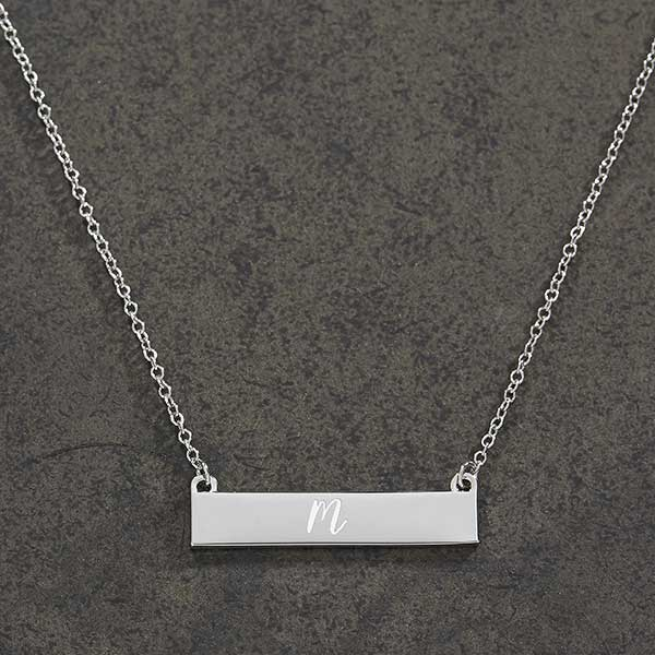 38fdcea27 Initials Personalized Silver Nameplate Necklace - For Her
