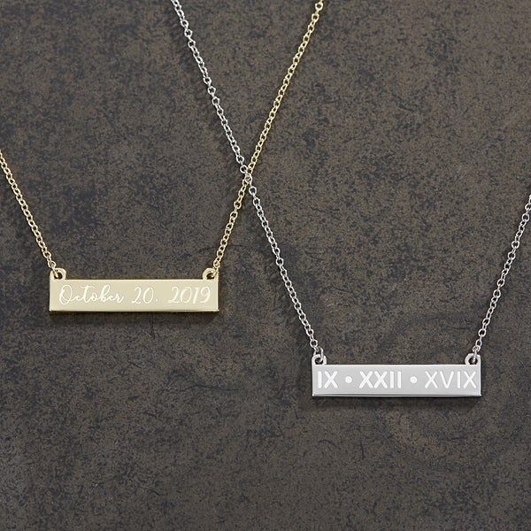 Personalized Nameplate Necklaces - Special Date - 18889
