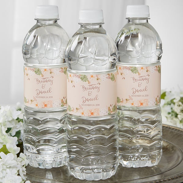 Personalized Water Bottle Labels - Floral Wedding - 18914