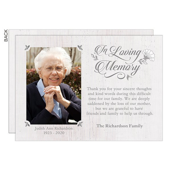 Personalized Photo Bereavement Cards In Loving Memory