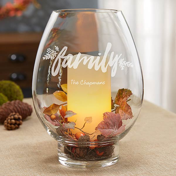 Engraved Glass Hurricane Candle Holder - Cozy Home - 18964