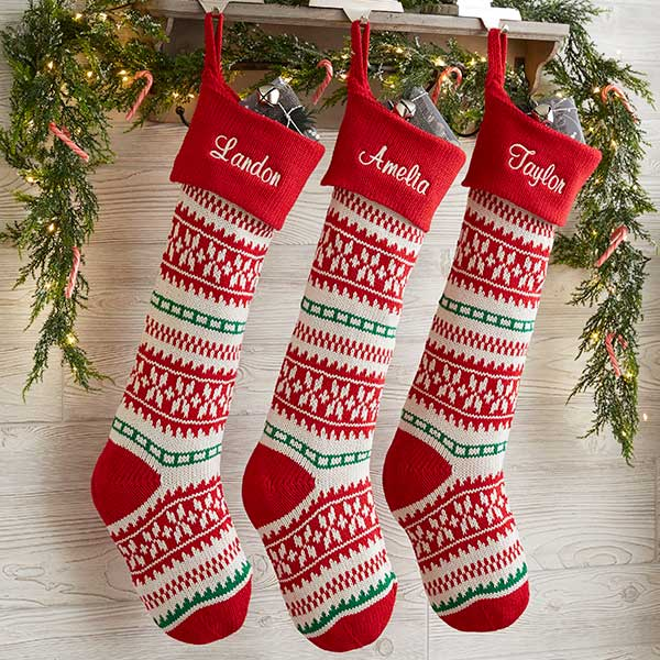 Personalized Knit Christmas Stockings - Holiday Sweater - 19001