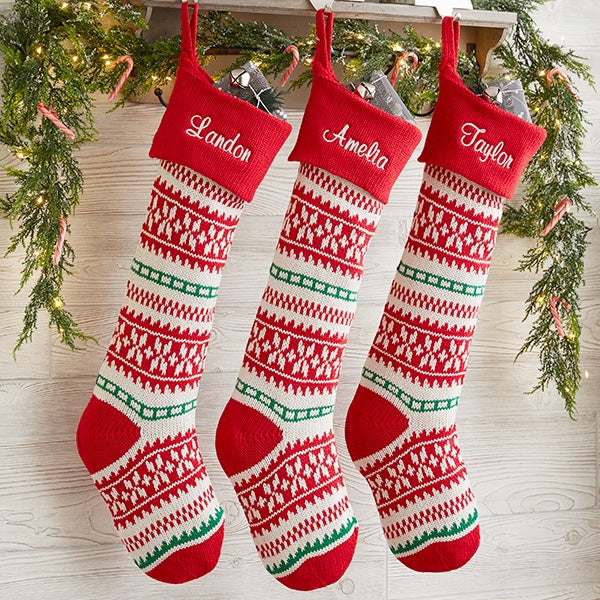 Knitted Christmas Stockings.Holiday Sweater Personalized Jumbo Knit Christmas Stockings Red Green