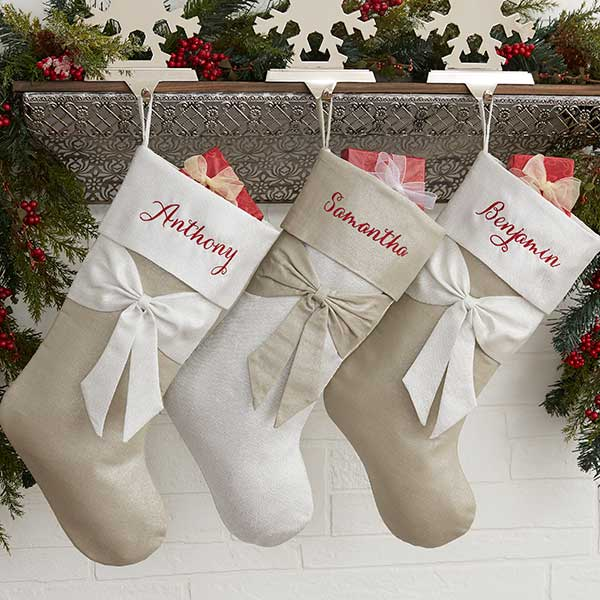 Lustrous Bow Personalized Silver Christmas Stocking ...