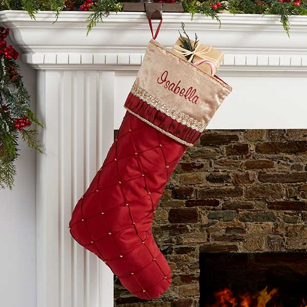 Christmas Stocking Personalized.Jeweled Holiday Personalized Burgundy Christmas Stocking