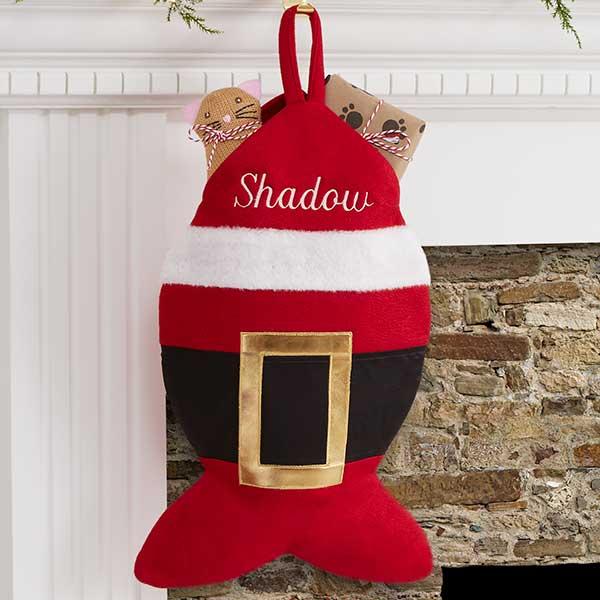 Cat Christmas Stockings.Personalized Cat Christmas Stocking Santa Belt