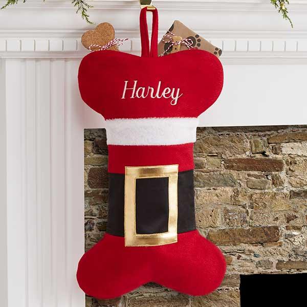 Dog Christmas Stocking.Personalized Dog Christmas Stocking Santa Belt