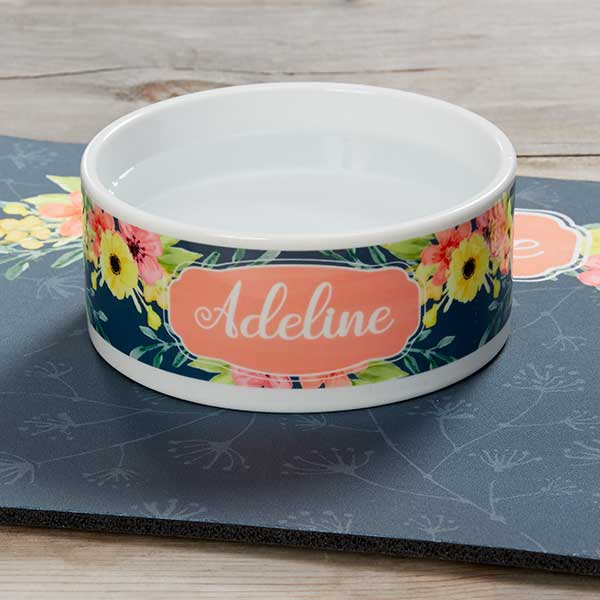 Personalized Dog Bowls - Floral Designs - 19021