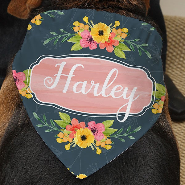 Personalized Floral Dog Bandana - 19043
