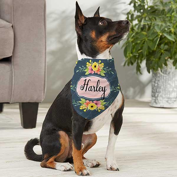 Grey Floral Dog Bandana  Over the Collar Dog Bandana