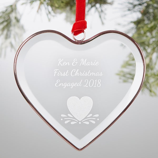 Engraved Bronze Glass Heart Ornament   Add Any Text - 19055