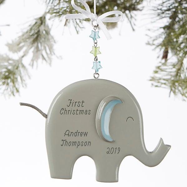 Eddie The Elephant C Personalized Baby Boy Ornament