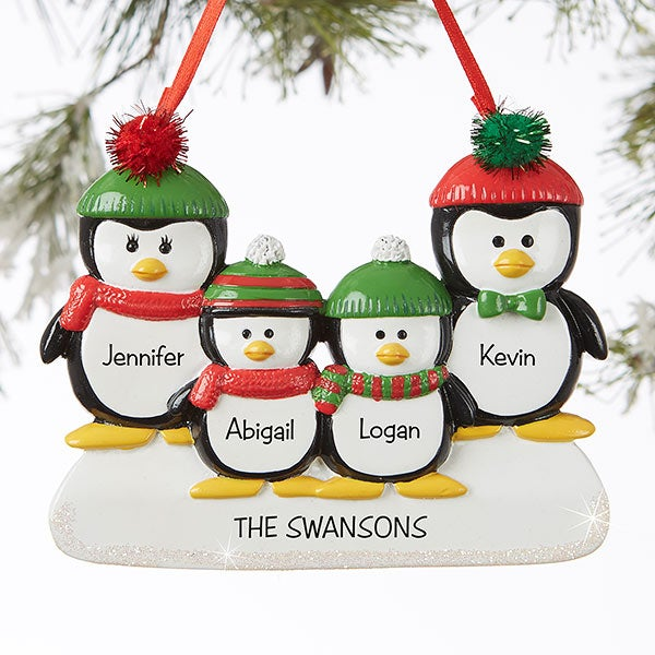 Penguin Family 4 Name Personalized Ornament - Christmas ...