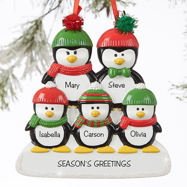 Christmas Ornaments With Names On Them.Penguin Family 5 Name Personalized Ornament