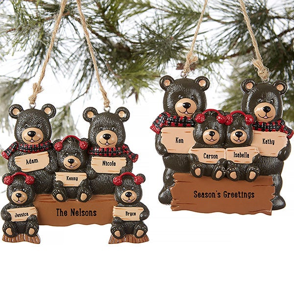 Personalized Ornaments - Holiday Bear Family - 19063