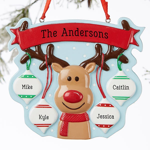 Personalized Christmas Ornaments - Reindeer Family - 19064