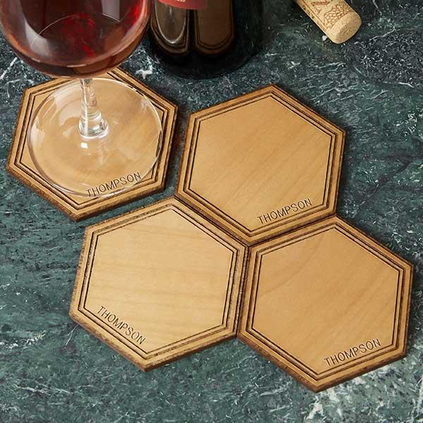 Personalized Wood Coasters - Hexagon Alderwood - 19074