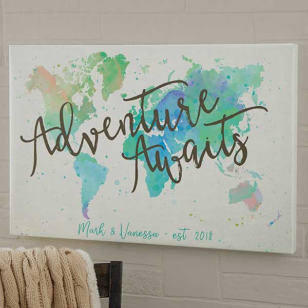 Personalized World Map Canvas Prints - The Journey - 19102