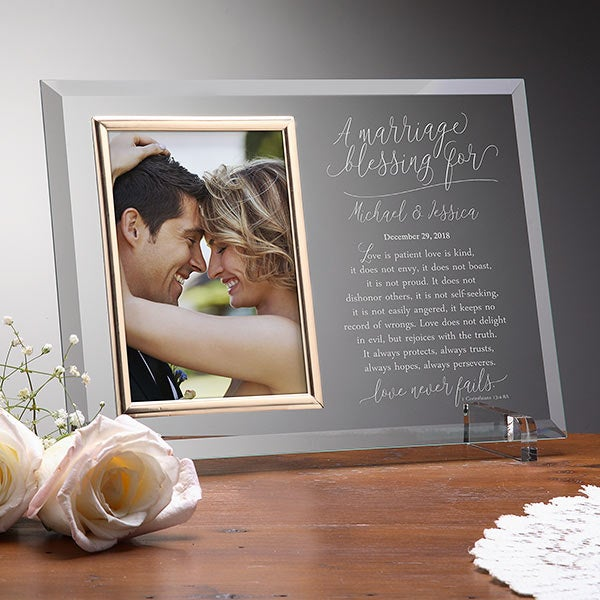 Personalized Glass Picture Frame - Wedding Blessing - 19142