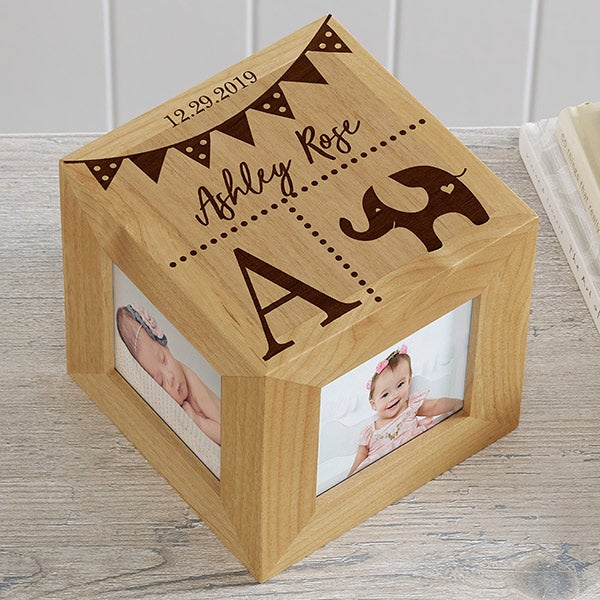 Baby Name Personalized Wood Photo Cube - 19143